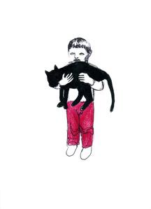 Boy holding a cat