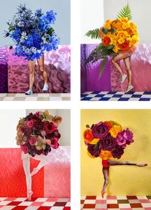 Set of Four Works: Walking Bouquet (Blue), Walking Bouquet (Yellow), Walking Bouquet/Ballerina (Pink), Walking Bouquet/Ballerina (Yellow)