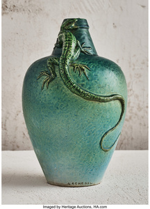 Green Vase with Applied Lizards