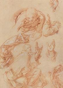 Studies of Hands and Bending Figures [verso]