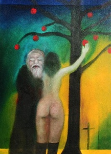 Old man and rear view of nude girl under apple tree