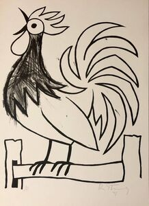 Mod Rooster Drawing 1970s Pop Art Lithograph Hand Signed