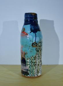 Medium Bottle Vase with Dark Blue Neck