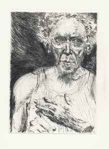 Self-portrait with hand on chest