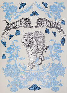 Papier peint : tigre bleu poudre