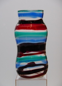 1953's.  'A fasce orizzontali' green, blue, red and dark red, vase cylindrical shape.