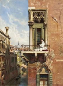 Anna Passini on the Balcony of the Palazzo Priuli in Venice