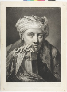 Young Man Wearing a Turban, his hands resting on an elaborately Bound Book