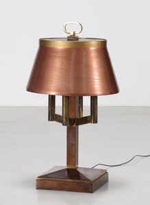 1940's Lamp in copper and brass: rectangular base,  shade covered with plexiglass. Neon light.