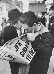New Yorkers reading of President John F. Kennedy's assassination, November, 1963