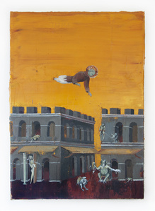 The blessed Ranieri overflying demons under medieval sky