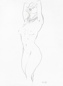 Life Drawing - Standing Nude with Hands on back of Head