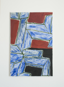 Untitled (green lines with blue, english red, black