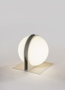 Painted metal and opaline glass lamp