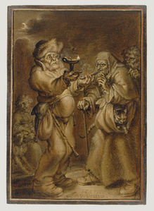 Moralizing Scene with an Old Woman and a Man