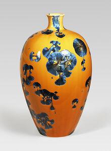 Mei ping vase, splash peacock blue glaze
