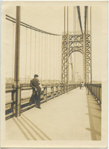George Washington Bridge with Martin D'Esseu in foreground