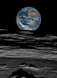 Earth over the Lunar Horizon, Lunar Reconnaissance Orbiter, 12 October, 2015