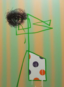 Untitled, Marker Portrait With Green Line, Six Orange Stripes and White Drips