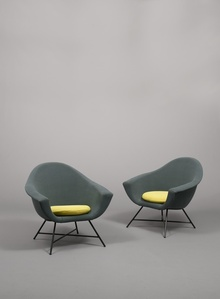 Pair of high-back armchairs 58 - Corbeille