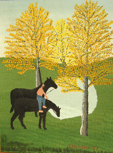 Man on a Horse by a Pond