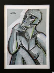 'Jeune Femme au Casque' Pastel, by Stéphane Gisclard