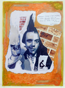 Sculpture génétique, 1971, Manzoni croisé Lizène, en remake 2015. Mabzoni, merda d'artista (1961) – Lizène, peindre avec sa matière fécale (1977). Être son propre tube de couleur.