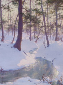 Stream in Winter, Sunset