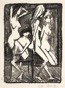 Drei Mädchen vor dem Spiegel