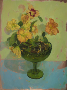 Yellow Lilies in a Green Footed Bowl