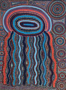 Agnes Nampijnpa Brown Ngapa Jukurrpa - (Water Dreaming) - Puyurru #1052-17ny