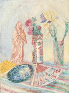 Chinoiseries, fleurs, vases et éventail