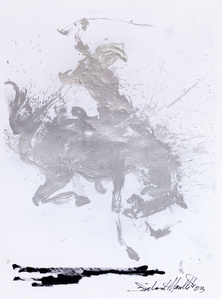 Horse and Rider (Silver with Black Line)