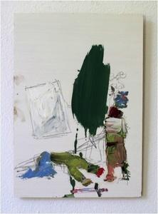 Ritter und ein abstraktes Bild