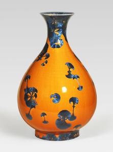 Pear-shaped vase, splash peacock blue glaze with flared lip