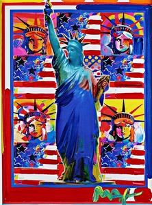 Original God Bless America with Five Statues of Liberty (Unique)