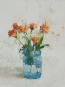 Still Life with Roses and Blue Glass I