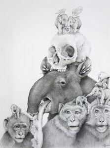 Tapir, Monkeys with Skull
