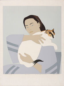 Woman And White Cat (S. 145)