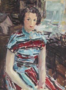 Portrait de femme à la robe rouge et bleue