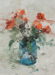 Still Life with Rose and Blue Glass III