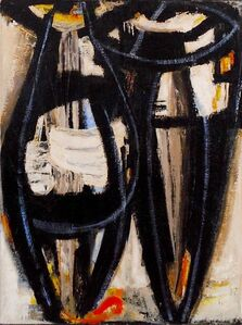 Untitled (Two Abstract Figures in White, Black and Blue)