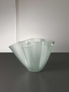 Colourless satin finish glass Cartoccio vase.