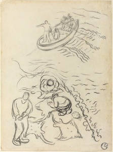 "Study for ""The Fishermen"" with Men Emptying the Nets (Etude pour ""Les Pêcheurs"" et hommes vidant des raies)"