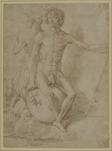 Two nude allegorical figures seated back-to-back on a sphere