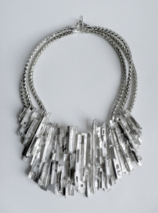 Ridged Cityscape Medallion Necklace
