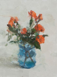 Still Life with Rose and Blue Glass II