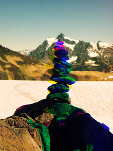 Variation of Cairn on Ptarmigan Ridge with Mt. Shuksan in Background, A