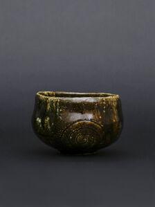 Ohi tea bowl with Ameyu glaze with ripples pattern