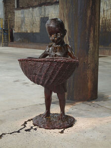 "African Boy Attendant Curio with Molasses and Brown Sugar, from ""The Marvelous Sugar Baby"" Installation at the old Domino Sugar Factory Warehouse. (Front Basket)"